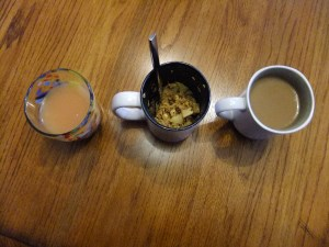 Morning of mugs. Juice, oatmeal, coffee.