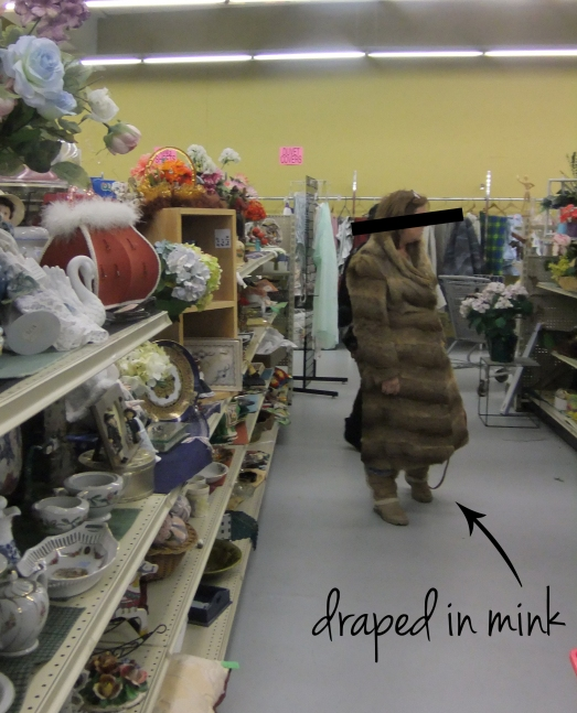 "We found a shopper ""draped in mink."""