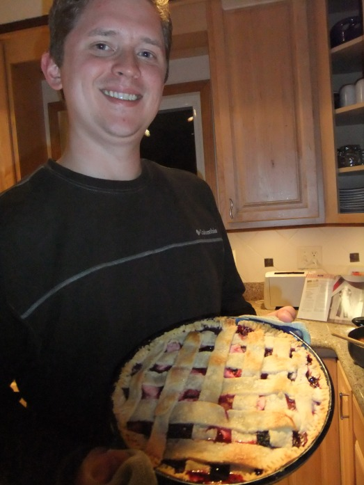 See? The grin isn't quite as substantial for this pie. It's still there - there is rhubarb and strawberries - but those damn blueberries and raspberries got in the way!